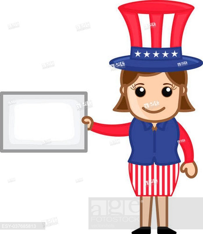 700x804 Drawing Art Of Cute Cartoon Young Uncle Sam Girl Showing Blank Ad