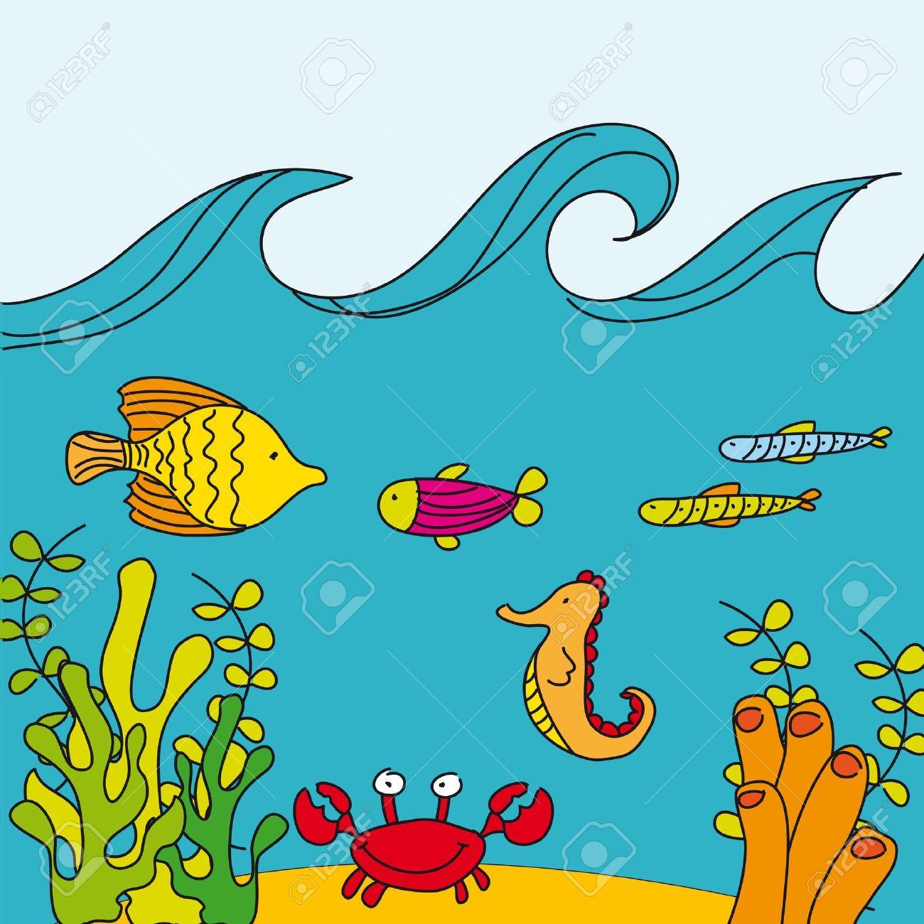 1300x1300 marine animals drawing cute reef with marine animals, hand drawing