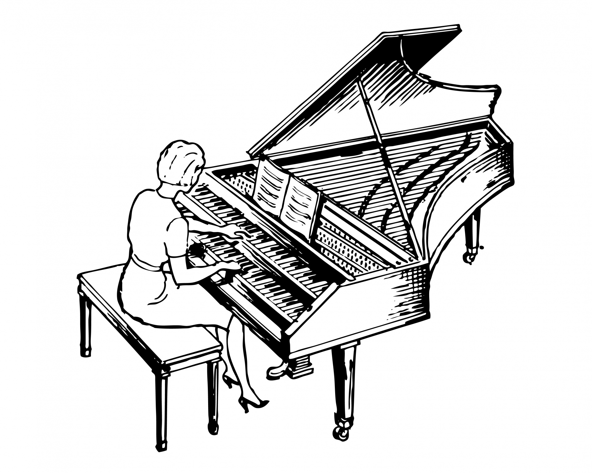 Upright Piano Drawing