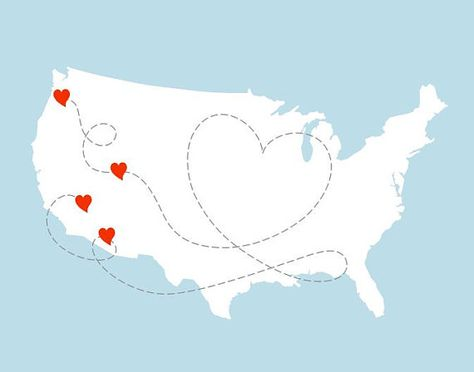 474x372 Custom Map Usa Map With Heart