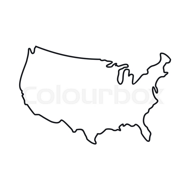 800x800 Usa Map Icon In Outline Style Isolated Stock Vector Colourbox