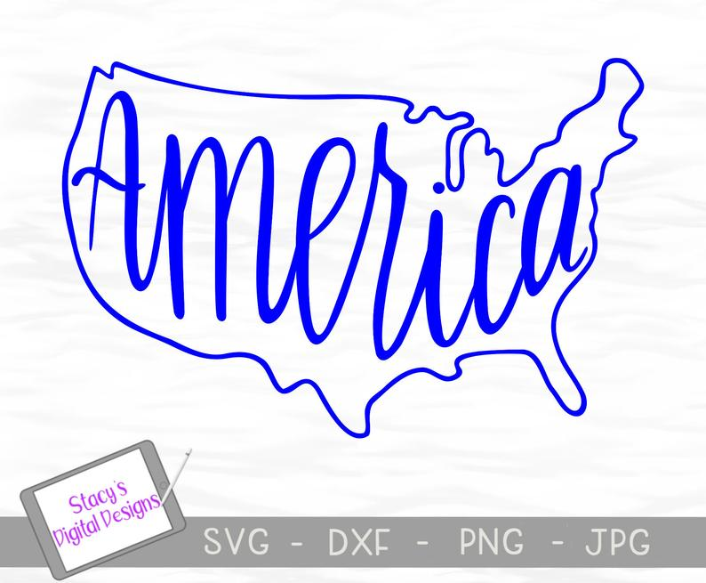 794x655 America Patriotic With Usa Outline And Etsy