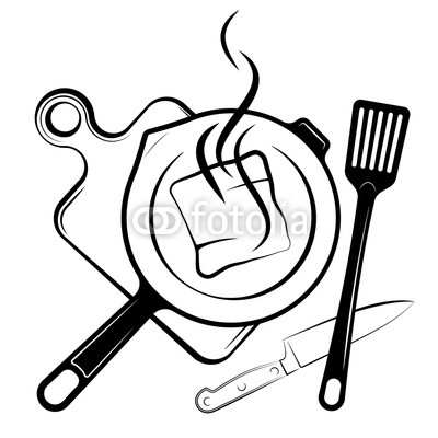 400x400 logo for the menu or restaurant frying pan and shovel for frying