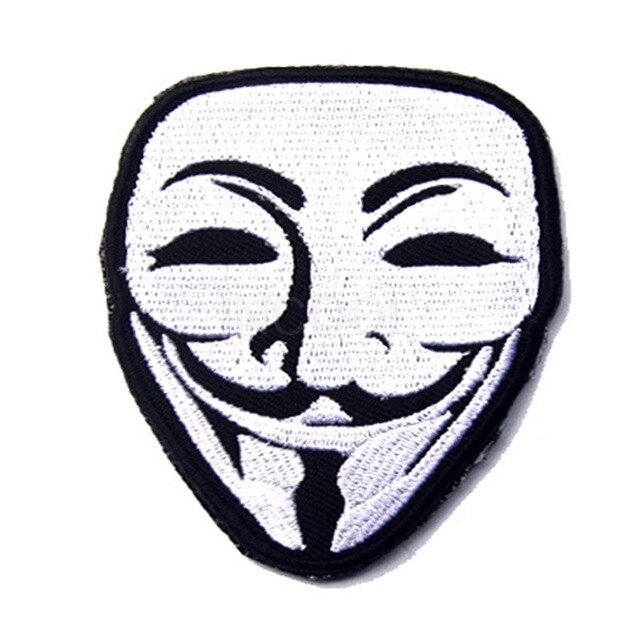 640x640 embroidered patch v for vendetta mask morale patch tactical emblem