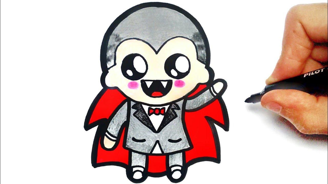 1280x720 How To Draw A Cute Vampire Dracula Halloween