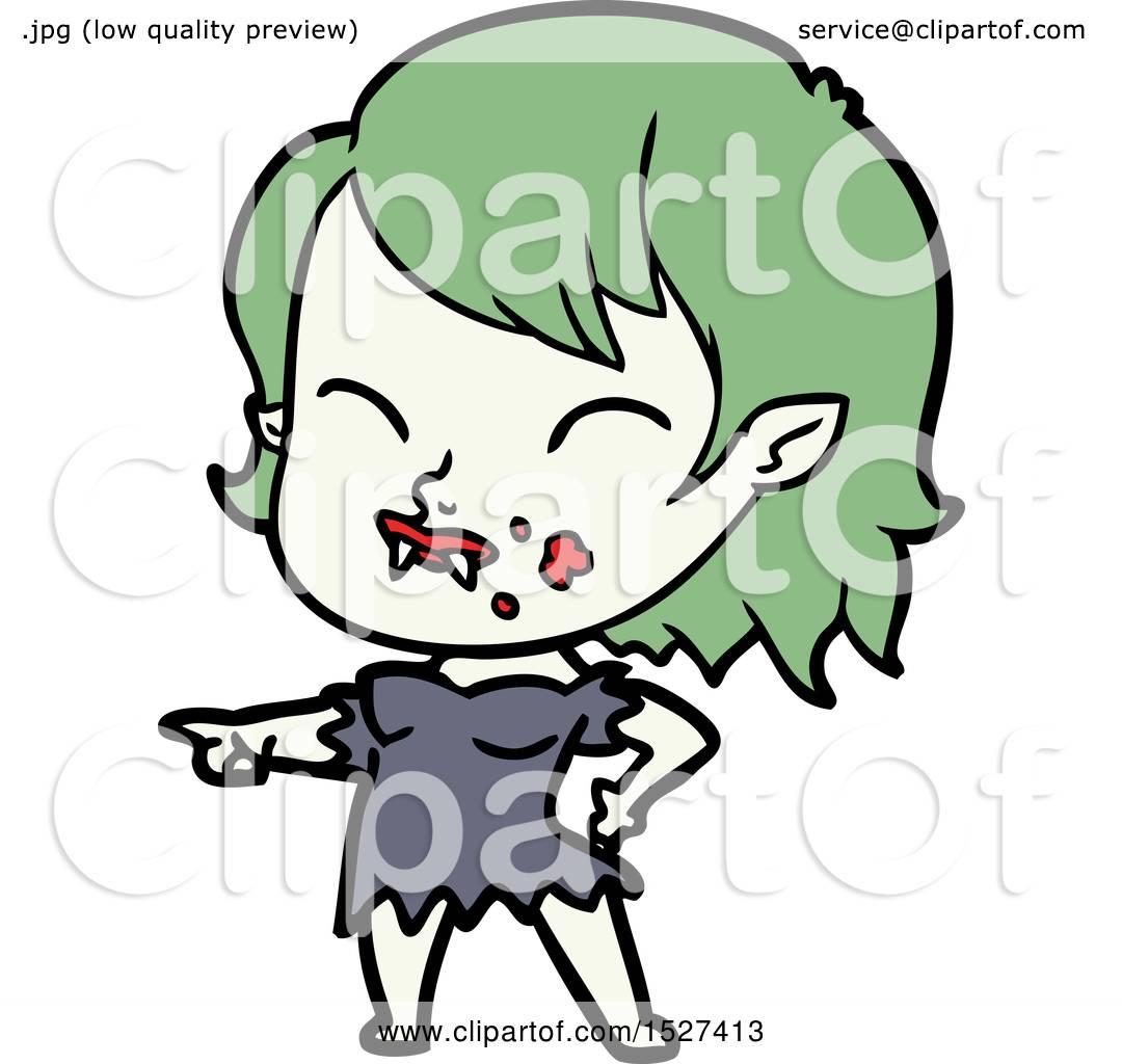 1080x1024 Cartoon Vampire Girl With Blood On Cheek