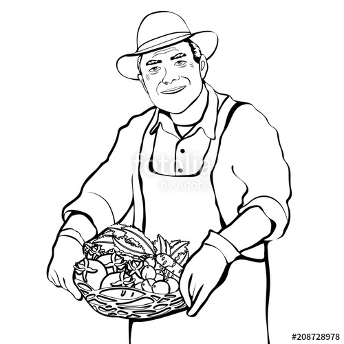 500x500 Farmer With Basket Of Fresh Vegetables Contour Drawing, Coloring