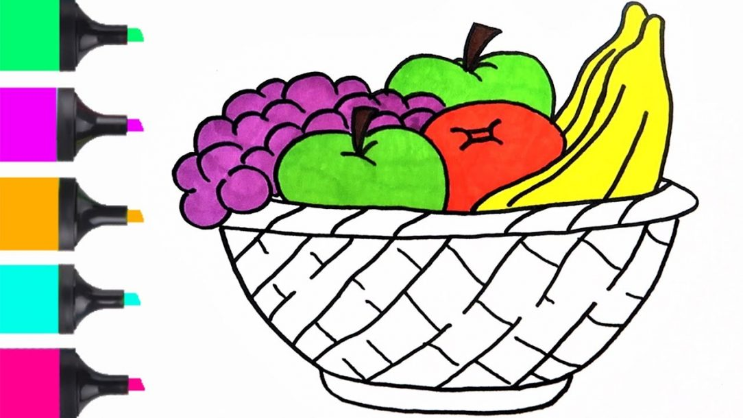 1084x610 Fruit Basket Drawing For Class Of Flowers Outline Colour