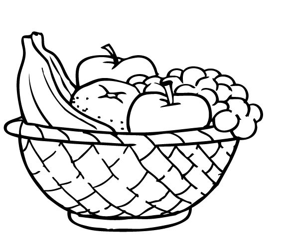 574x507 Apples And Other Fruits In The Basket Coloring For Kids Nummy