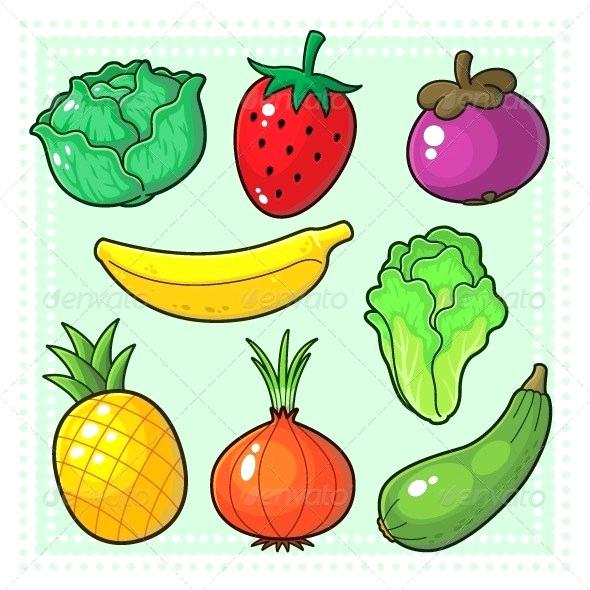 Fruits Vegetables Drawing