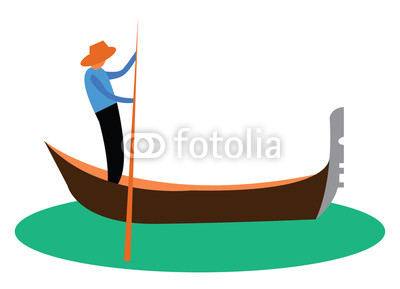 400x289 a man propelling a small narrow boat known as gondola vector color