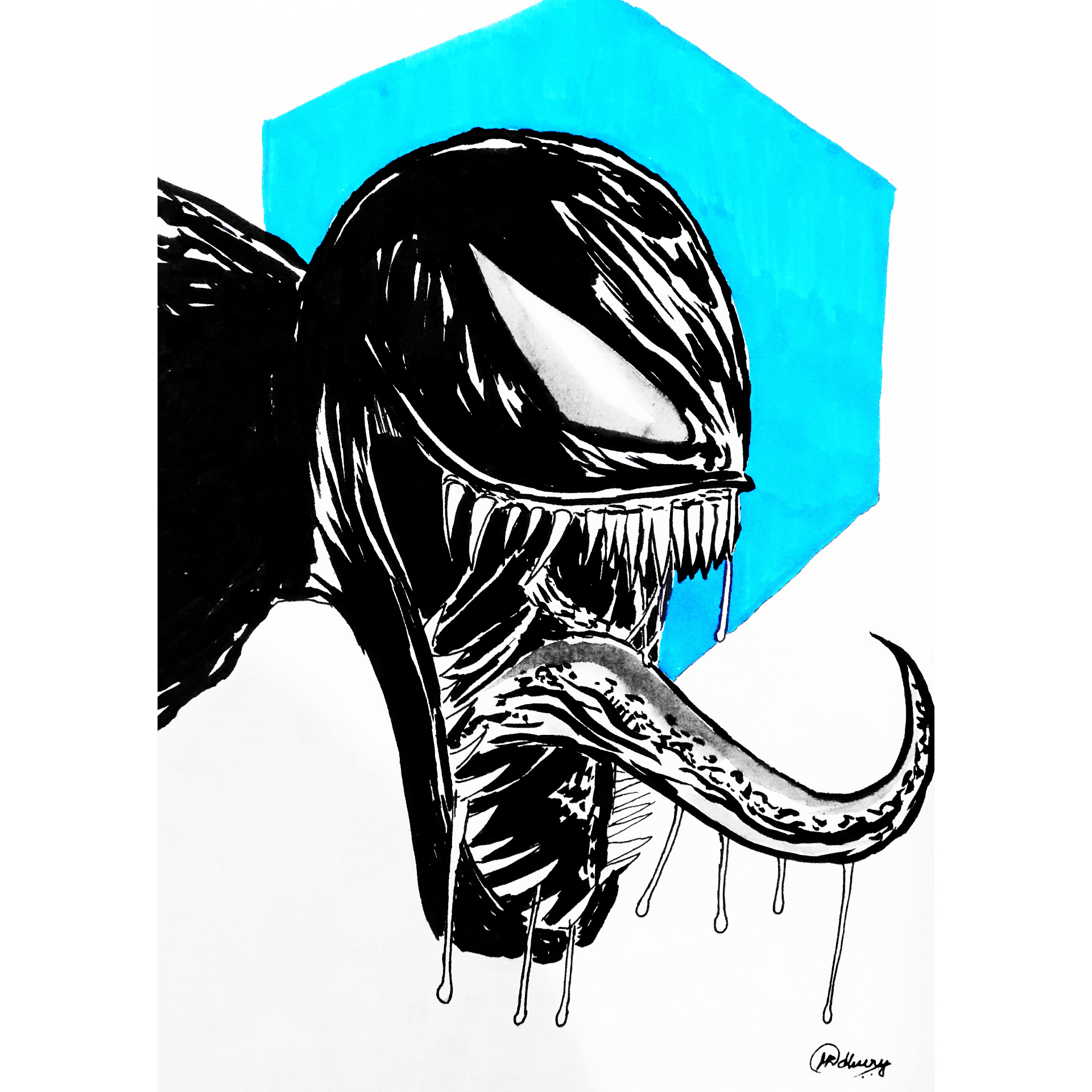 1920x1920 Drawing Venom Using Brush Pen And Ink Drawing
