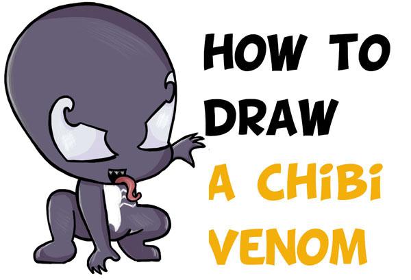 600x409 How To Draw Chibi Cute Venom From Marvel + Spiderman