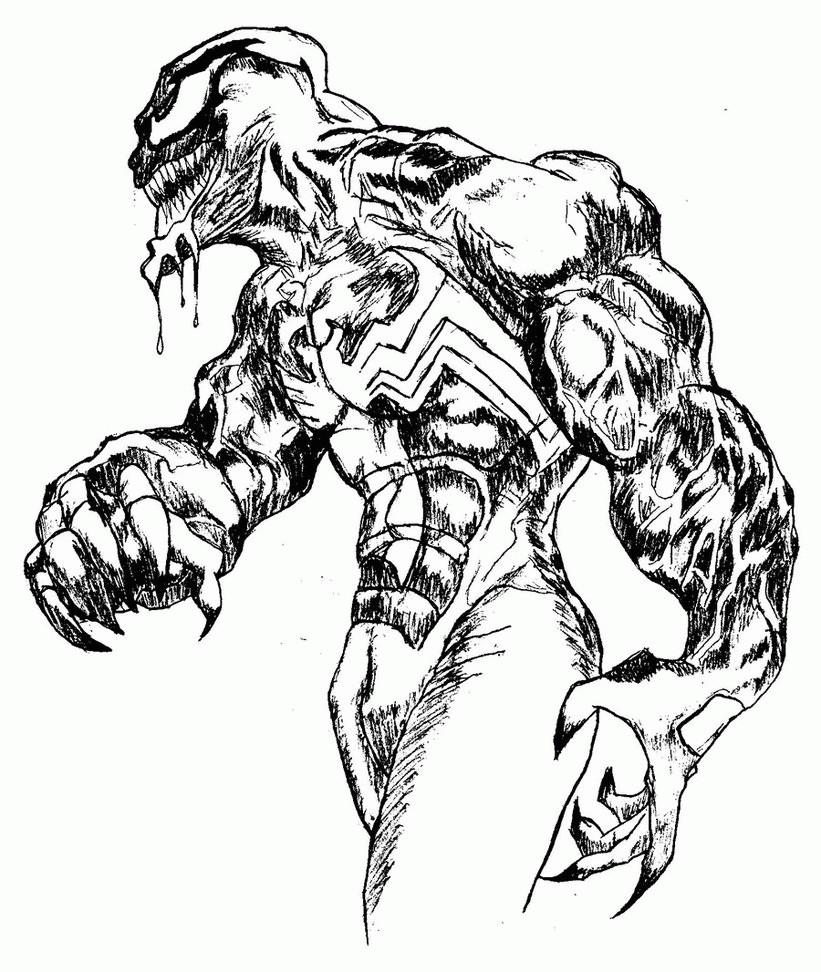 821x972 Venom Drawing Free Download