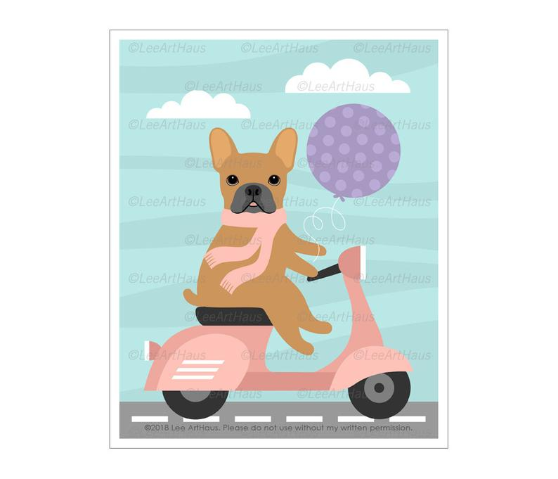 794x681 french bulldog print french bulldog on pink vespa etsy