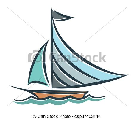 450x401 blue sailing vessel in the sea drawing of the blue sailing vessel