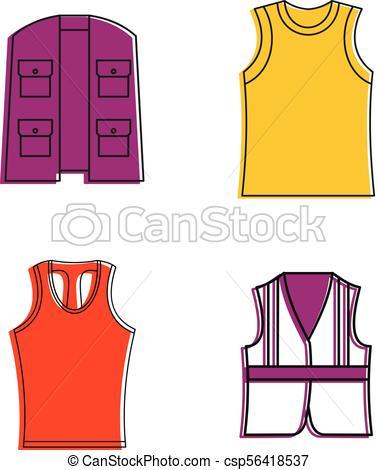 378x470 vest icon set, color outline style vest icon set color outline