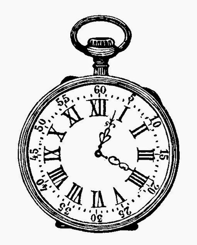 642x800 Pocket Watch Black And White Ink Drawing Vintage My House One