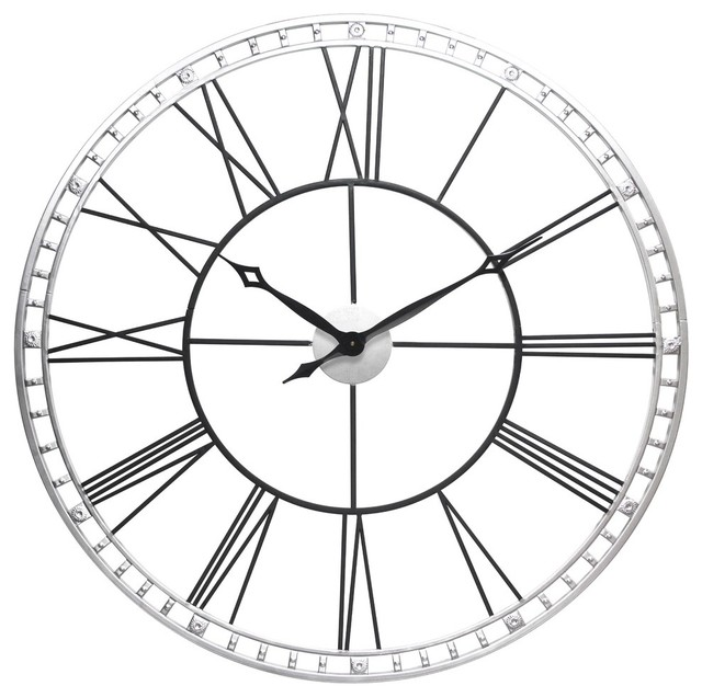 640x636 Wall Clock The Tower Xxl, Black And Silver