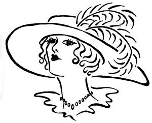 300x242 unmounted rubber stamps, art stamps, victorian lady, lady with hat