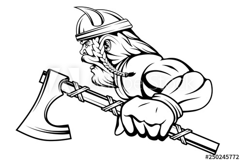 500x334 viking warrior with a traditional battle ax in his hand, suitable