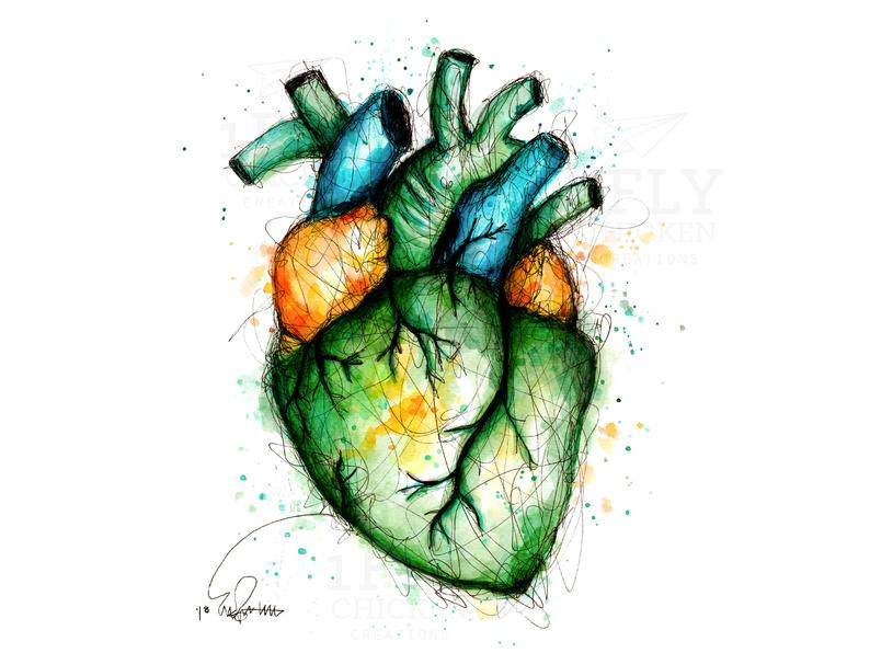 794x596 Anatomic Heart Painting Watercolor Ink Print Etsy