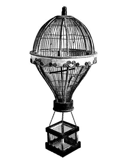 425x550 hot air balloon antique vintage birdcage antique digital