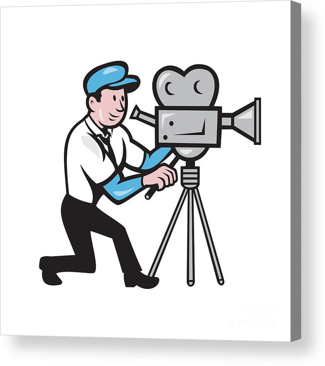 666x750 cameraman vintage film movie camera side cartoon acrylic print