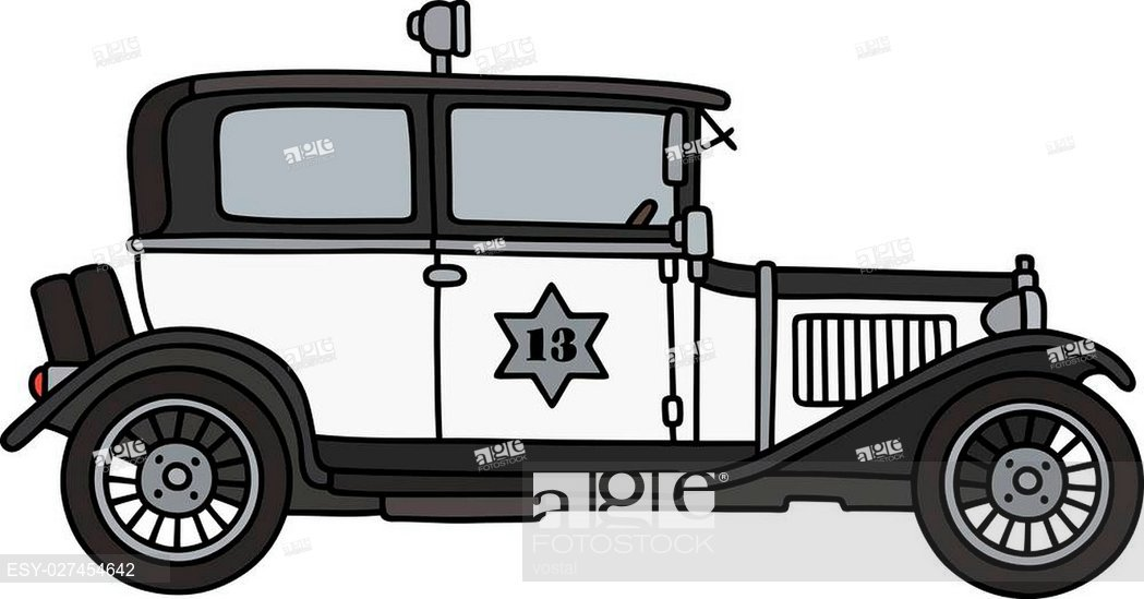 1049x549 Hand Drawing Of A Vintage Police Car