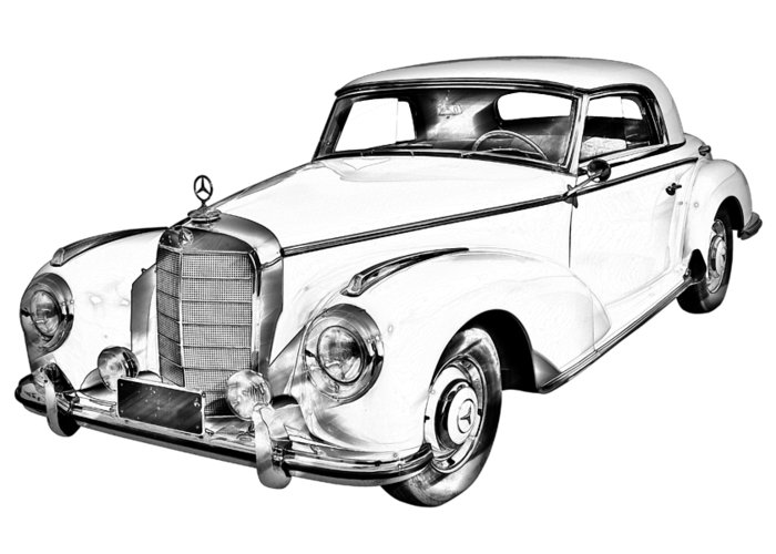 700x500 Mercedes Benz Luxury Car Drawing Greeting Card For Sale