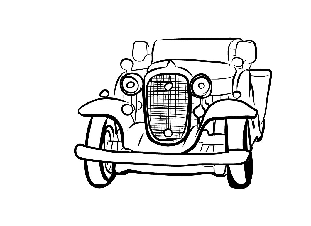 1060x772 Vintage Car Picture Drawing Drawing Skill