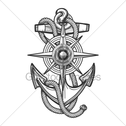 500x500 Anchor With Compass Engraving Illustration Gl Stock Images