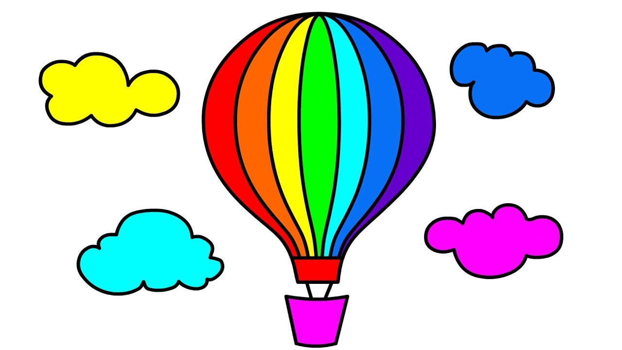 1280x720 How To Draw Hot Air Balloon In Clouds Coloring Pages For Kids Most