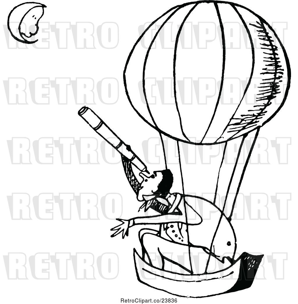 1024x1044 Vector Clip Art Of Retro Guy In A Hot Air Balloon, Looking