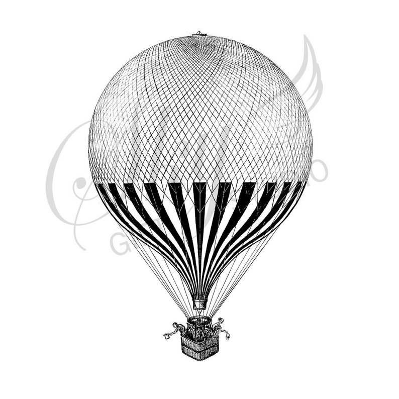 794x794 Vintage Hot Air Balloon Illustration Printable Vintage Hot Etsy