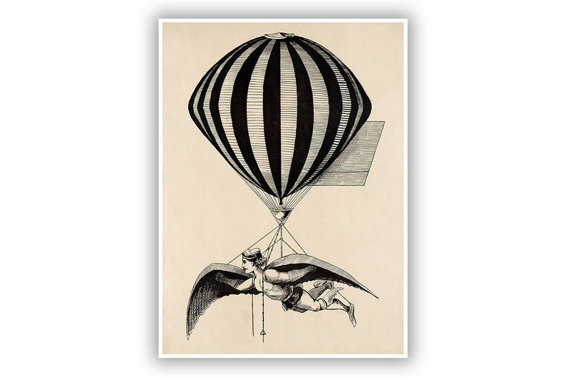 794x529 Airship Illustration Hot Air Balloon Art Steampunk Aerialist Etsy
