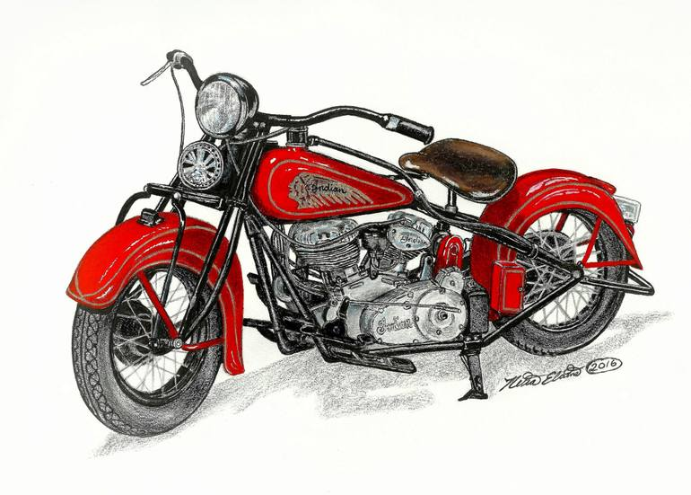 Vintage Motorcycle Drawing
