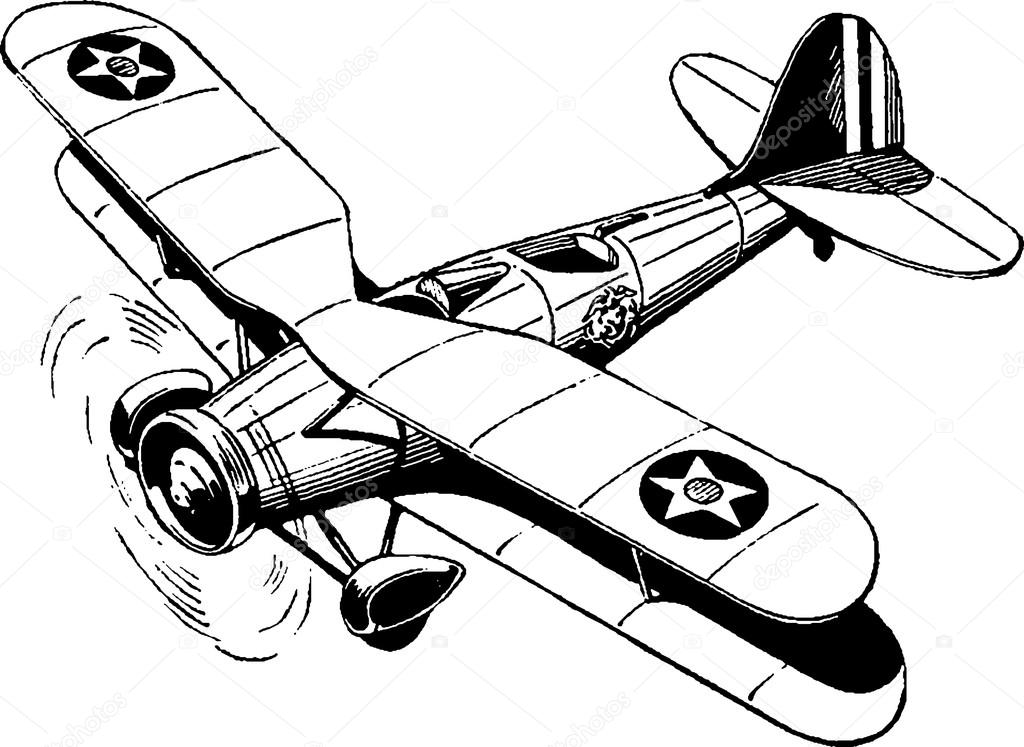 Vintage Plane Drawing