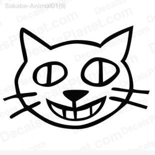 310x310 cat face drawing decal, vinyl decal sticker, wall decal