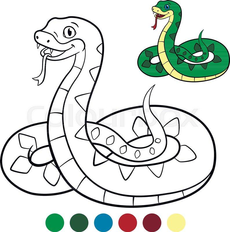 794x800 color me viper little cute viper stock vector colourbox