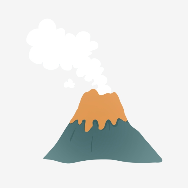 640x640 hand painted cartoon volcanic small volcan, hand drawn volcano