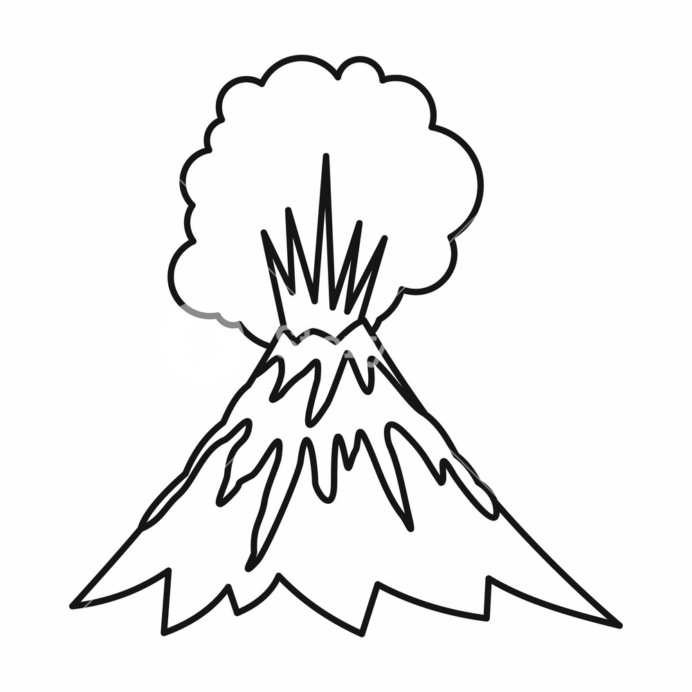 1000x1000 volcano erupting icon in outline style isolated vector