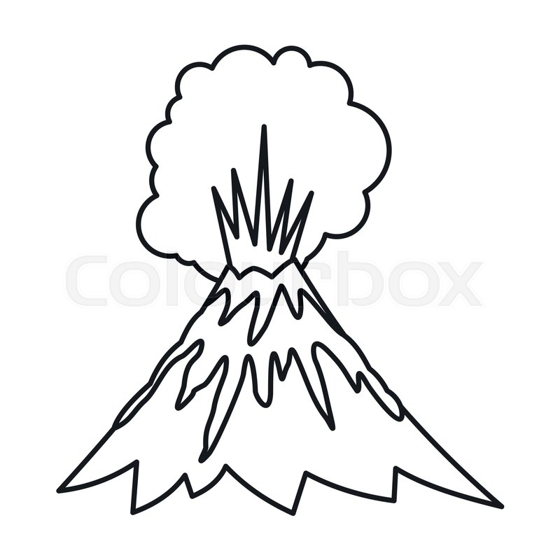 800x800 volcano erupting icon in outline style stock vector colourbox