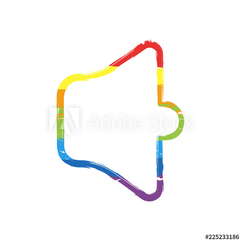 500x500 Simple Volume Mute Linear, Thin Outline Drawing Sign With Lgbt