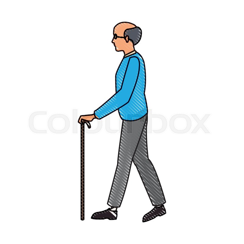 800x800 Drawing Elderly Man Walking Stick Cane Stock Vector Colourbox
