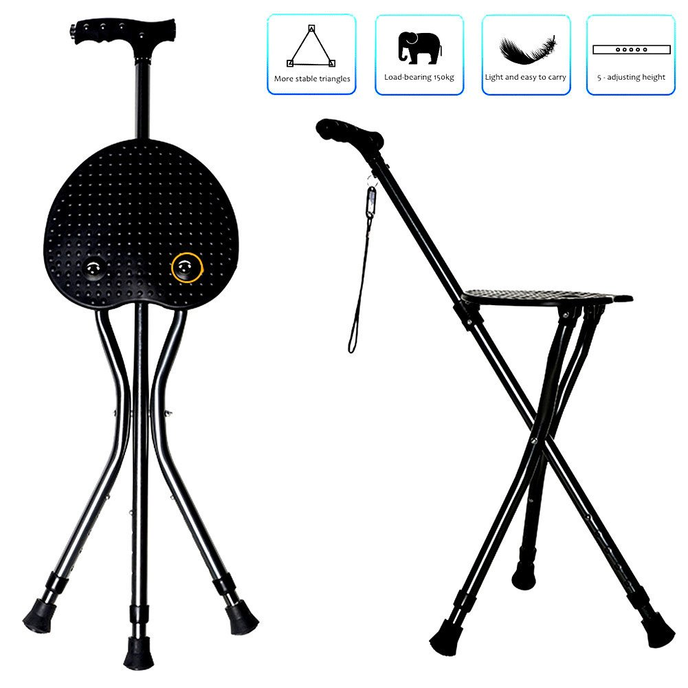 1001x1001 Nurth Walking Cane Folding Seat Stool Foldable Chair