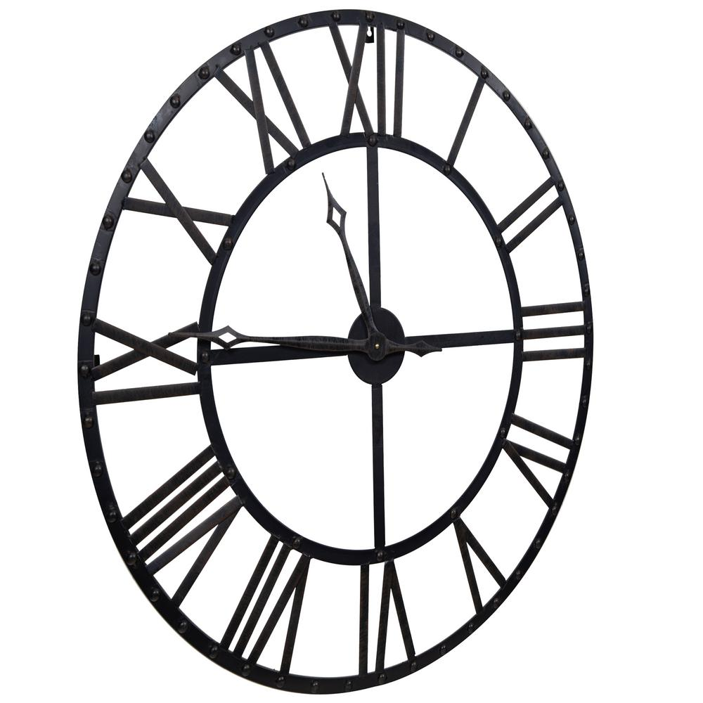 1000x1000 pinnacle oversized black and bronze metal wall clock