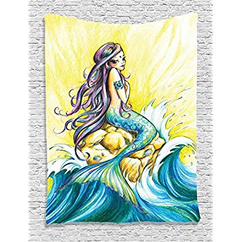 350x350 Ambesonne Mermaid Decor, Mermaid Sitting On Rock Sunny