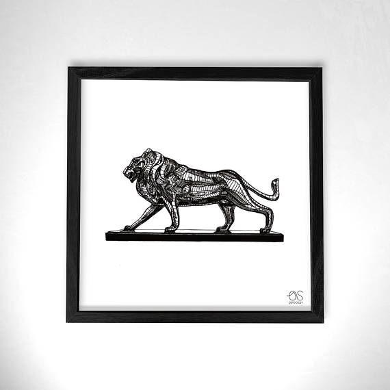570x570 Lion Statue Art Print, Fineline Pen Wall Hanging, Lion