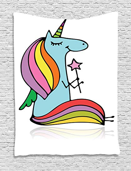 420x550 Ambesonne Unicorn Tapestry, Doodle Drawing